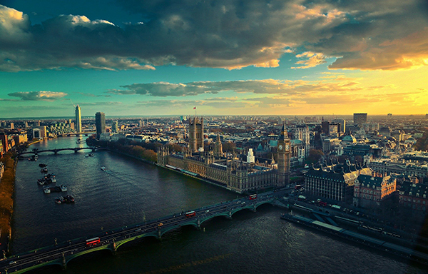 City of London and River Thames at Sunset